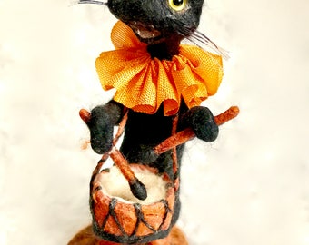 Spun cotton black cat with drum a Halloween OOAK vintage craft by jejeMae
