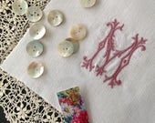 Embroidered Initials, Embroidered Letters, Monograms, Quilt Squares, Personalised, Craft Supply, UK Seller