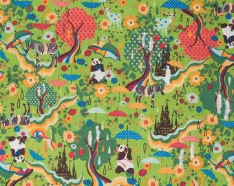 Kawaii Japanese panda fabric in green cotton linen canvas by Kiyohara - 1/2 YD
