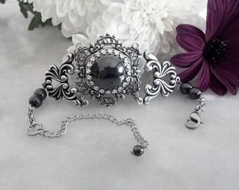 Gothic Bracelet, Grey Black Bracelet, Silver Filigree Hematite Bracelet, Goth Bridal Bracelet, Medieval Renaissance Bracelet, Gothic Jewelry