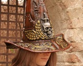 READY TO SHIP - Witch hunter hat warhammer fantasy cosplay skull renaissance costume wh hunt gold brown steampunk inquisitor