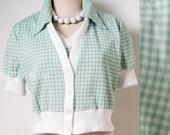 60s Top, Vintage Mint Green Top, 60s Gingham Top, Vintage Crop top, Vintage Green Top, 60s Babydoll Top, Puff sleeve top - S/M