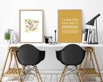 Hawaiian islands travel poster Hawaiian decor Hawaii art Love Hawaii Typography print Hawaii Hawaiian typography art print Hawaii art print