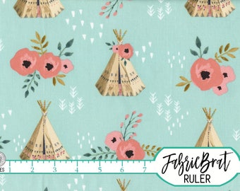 BOHO CHIC TEEPEE Fabric by the Yard Fat Quarter Fabric Modern Floral Tribal Fabric Quilting Fabric 100% Cotton Fabric Apparel Fabric a4-12