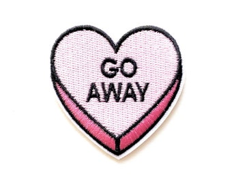 Go Away Heart Embroidered Iron On Patches - 52mm - DIY - Applique - Words - Light Pink - Pink