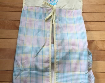 Vintage 1970s Pastel Gingham Teddy Diaper Storage Hanger!