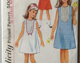 Vintage Simplicity Sewing Pattern 5987, Child's and Girl's One-Piece Dress