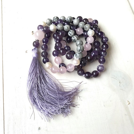 Motivation Mala Bead Necklace, Amethyst to Lift Your Spirit, Rose Quartz and Pearl Mala, 108 Bead Mala, Yoga Mala Necklace