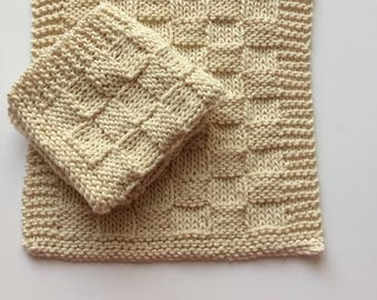 """Two Hand knitted Dishcloths made with Natural Undyed Cotton - """"Basketweave""""."""