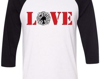 Womens Firefighter Shirt, GLITTER Firefighter 3/4 Sleeve Baseball Shirt, Firefighter Wife Shirt, Firefighter Love Shirt, Love Firefighters