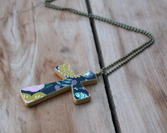 Wood Cross Necklace, Wooden Cross, Navy and gold, Mustard yellow, Floral cross, Flowers, Large cross, Handmade cross, Christian jewelry