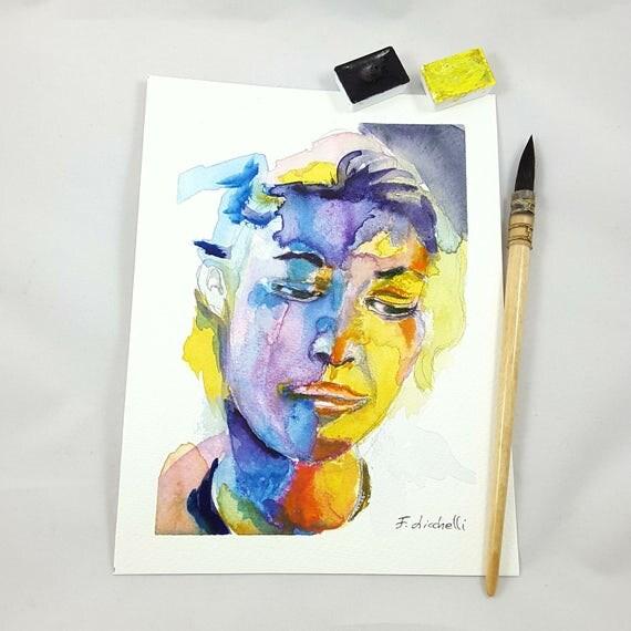 Woman face, intense expression, colored portrait, watercolor, copy of author, elegant present, modern art, contemporary, home decore, lounge