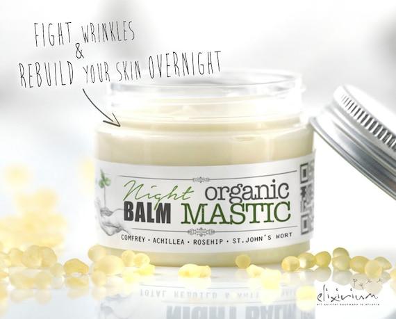 ORGANIC MASTIC Night Balm • Skin Rebuild Face Cream. Wrinkle night balm for Anti Aging organic skincare.