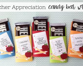 KIT Teacher Appreciation NoteBook Messages /  / Candy Bar Wrappers / Candy Bar Wraps / Thanks Teacher / Hershey Chocolate Bars / Hershey Bar