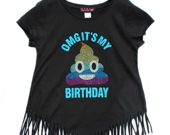Rainbow Poop Emoji Shirt, Girls Birthday Shirt, Girls Poop Emoji Shirt, Birthday Girl, Emoji Birthday, Poop Emoji Party