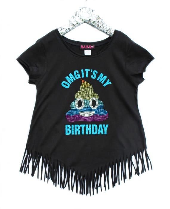 Rainbow Poop Emoji Shirt, Girls Birthday Shirt, Girls Poop