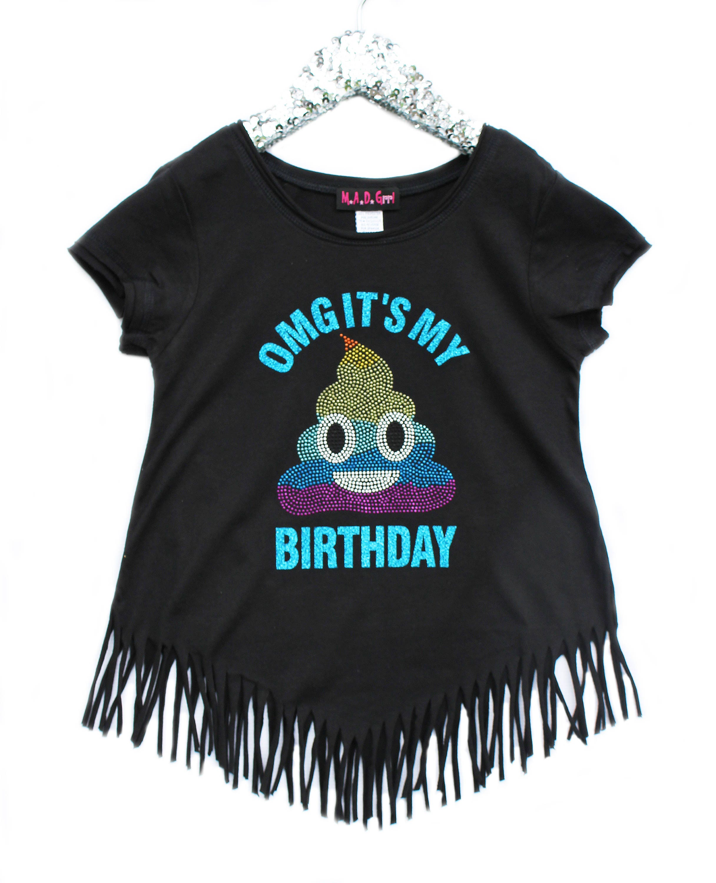 Rainbow Poop Emoji Birthday Shirt Girls