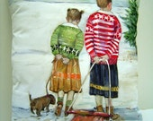 Winter Sweaters 14x16 Pillow Hand Painted Original Art Winter Snow Sledding A Charming Scene Young Girls