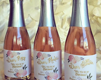 Custom Mini Champagne Labels / Personalized Mini Wine Labels 187 mL / Bridesmaid Proposal Wine label Ask Gift / Wine Label Proposal Blush