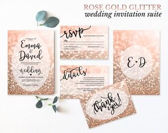 Rose Gold Wedding Invitation Set Printable Wedding Invitation Suite Rose Gold Glitter Wedding Invites RSVP Details Digital Download JPEG PDF