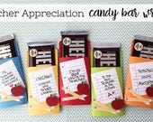 KIT Teacher Appreciation NoteBook Messages /  / Candy Bar Wrappers / Candy Bar Wraps / Thanks Teacher / Hershey Chocolate Bars / Hershey Bar