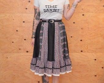 Vintage 70's Skirt Prairie Style Calico Purple & Black Paneled Floral Print SZ M/L