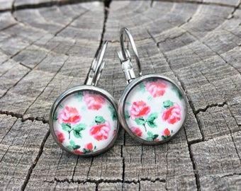 Pink Peony Flowers . Hypoallergenic Stainless Steel Leverbacks . Earrings