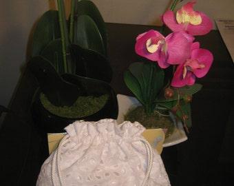 White eyelet lace overlay, drawstring bag, wedding money dance bag by Nijkira Designs