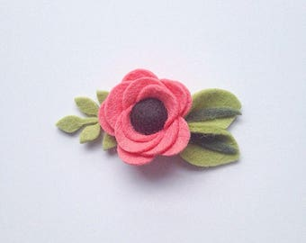 Watermelon Felt Flower Hair Clip or Headband