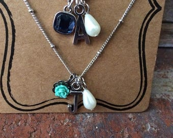 Charm Necklace Choice of Initial with Pearl/Gem or Pearl/Flower