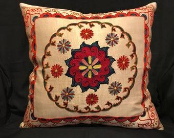 Handmade Suzani Silk Pillowcase, Suzani Pillow, Uzbek Suzani, Decorative pillows