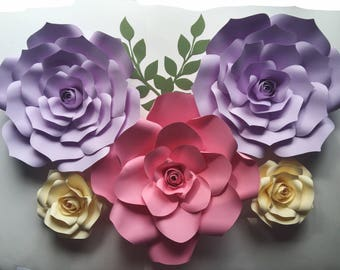 Nursery toddler room home decor paper flowers wall art