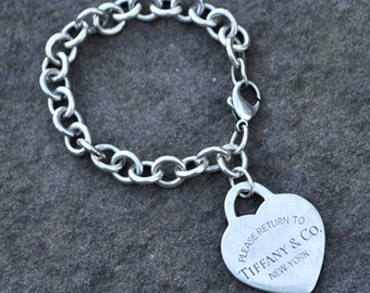 Please Return To Tiffany & Co. New York Large Silver Heart Charm Bracelet with Box, 7.5""
