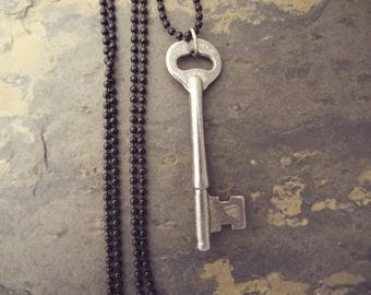 Skeleton Key Necklace with long black ball chain , Vintage Skeleton Key, Womens Necklace
