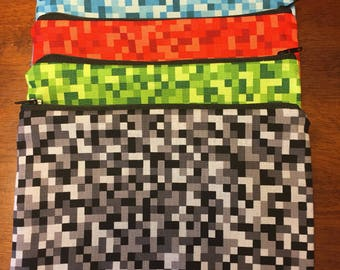 Minecraft inspired Pixel/ gamer red/blue/ green pencil case/ pen case/pouch/ make up bag/ travel bag
