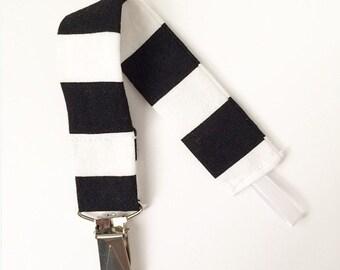Pacifier Clip - Black and White Stripe