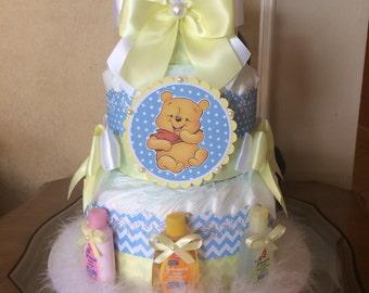 Winnie the Pooh diaper cake/Winnie the Pooh baby shower centerpiece/Baby boy diaper cake/Boy baby shower centerpiece/Newborn hospital gift