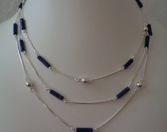 Necklace with lapis lazuli and 925 Silver, three-row