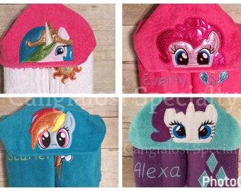 My Little Pony Inspired Hooded Towel(ALL Characters Available)/ Baby/Kids/Adult/Baby Shower/Birthday/Christmas/Gift/Pool/Towel/Gift/Party