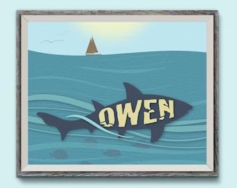 Personalized 8X10 Art Print, Shark, Kids Name Plaques
