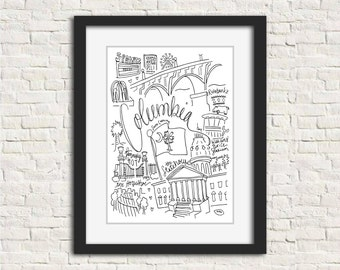 Columbia, South Carolina Wall Art Gift Illustration City Print // 8x10 Black and White