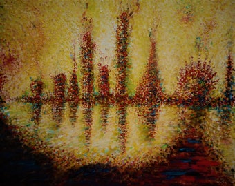 "Original Abstract Oil Painting by Nalan Laluk: ""Metropolis"""