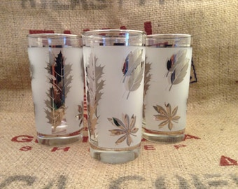 Libbey frosted silver leaf glassware. Multiple sizes available