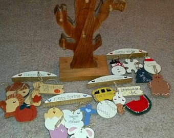 Wooden Tree Table-Top Decor with Hanging Seasonal Wooden Charms