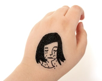 set of 3, temporary tattoos, sad girl