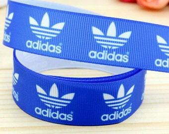 Sports Blue & white 7/8 inch Grosgrain Ribbon By the yard