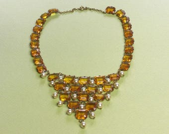 Necklace (179) flexible chest, Crystal cut, amber and pearls, to 1950's