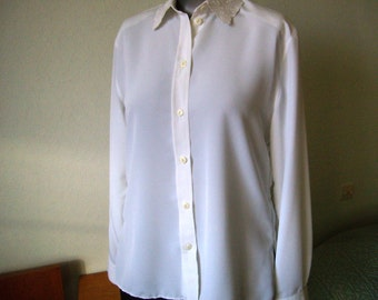 White blouse, long sleeve, french Vintage, wife, size M/38-40