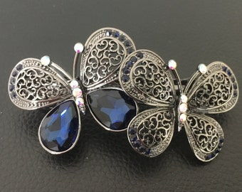 Filigree Gun Metal Crystal Butterfly Womens Hair Barrette Clip Hair Accessory Jewelry Piece