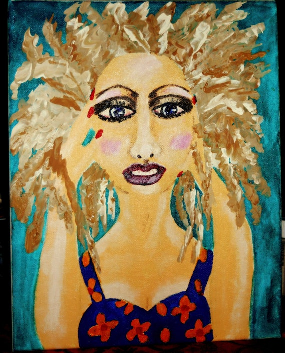 "Portrait - ""Too Old For Your Crap 2,"" Acrylic Painting, 16 x 12"" Canvas. Outsider Folk Art, by Artist Stacey Torres"